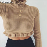 Ruffle turtleneck knitted sweater