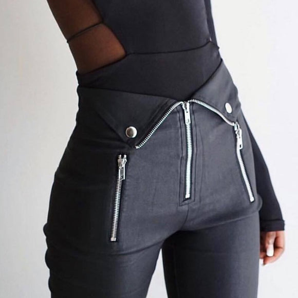 Zipper fold streetwear pencil pants