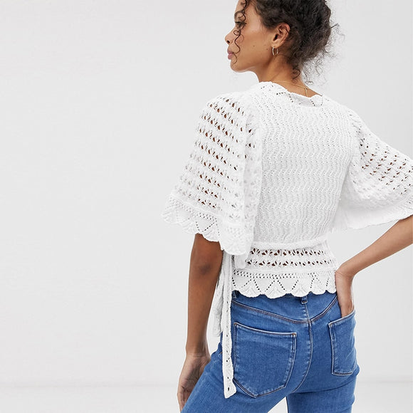 Classic Tailoring Lacing Ruffle Sleeve Top