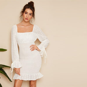 Vintage White Lace Eyelet Square Neck Bell Sleeve Dress-Sunshine's Boutique & Gifts