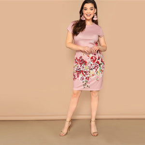 Pink Plus Size Casual Floral Print Pencil Dress-Sunshine's Boutique & Gifts