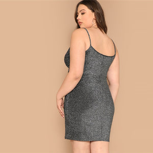 Grey Twist Front Glitter Plus Size Cami Mini Dress-Sunshine's Boutique & Gifts
