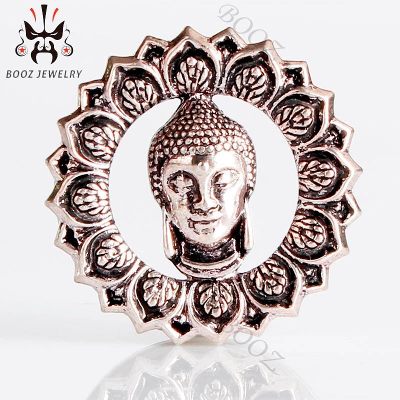 Silver Buddha stainless steel ear plug-Sunshine's Boutique & Gifts