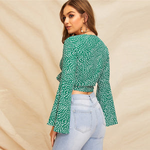 Green Bell Sleeve Dot Print Blouse-Sunshine's Boutique & Gifts