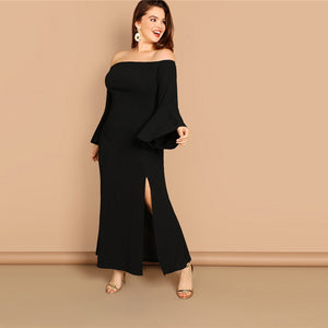 Plus Size Black Bell Sleeve Slit Front Fishtail Dress-Sunshine's Boutique & Gifts