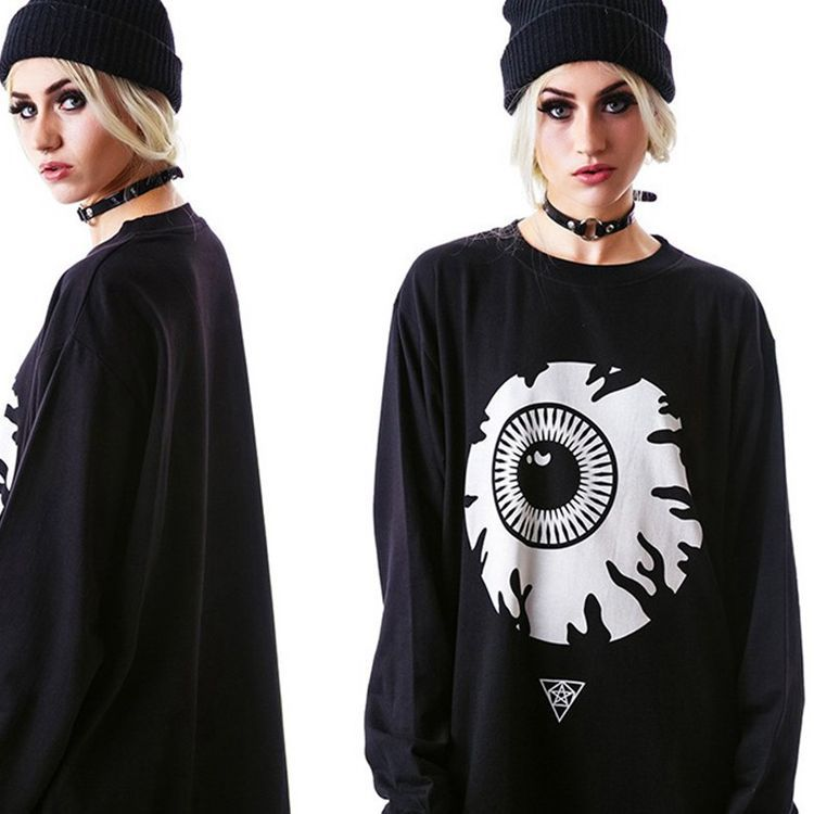 Gothic Loose Long Sleeve Pullover Sweatshirt-Sunshine's Boutique & Gifts