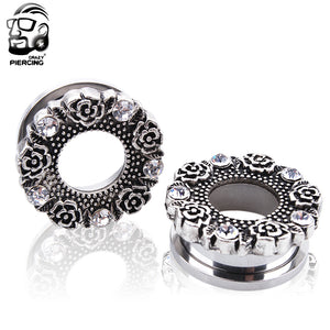 High Qaulity Silver Glitter Screw Ear Gauge Plug 316L Stainless Steel-Sunshine's Boutique & Gifts