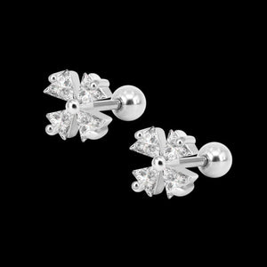 Zircon Gems 16G Leaf Clover Surgical Stainless Steel ear tragus-Sunshine's Boutique & Gifts