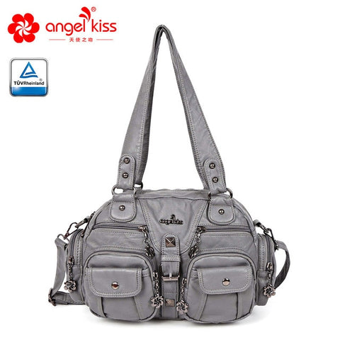 Large Double Zipper Multi Pocket Shoulder Bags