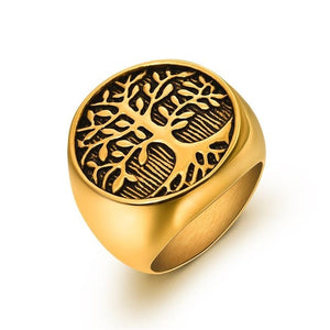 Men Stainless Steel Tree of Life Rings