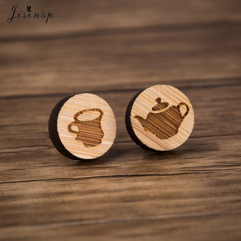 Wooden Coffee Cup Earrings-Sunshine's Boutique & Gifts