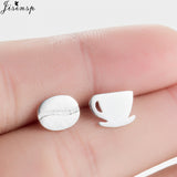 Coffee Cup and Bean Earrings