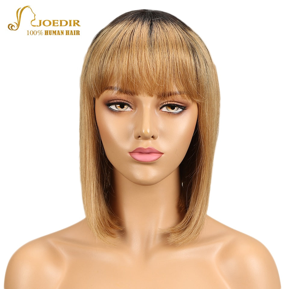 Straight Human Hair Wigs Brazilian Remy Short Bob Ombre With Bangs-Sunshine's Boutique & Gifts