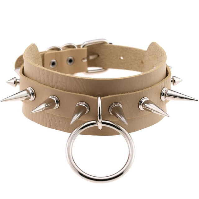 Big O-Round Punk Rock Gothic Leather Chokers-Sunshine's Boutique & Gifts