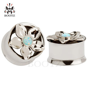 Opal stainless steel ear plugs-Sunshine's Boutique & Gifts