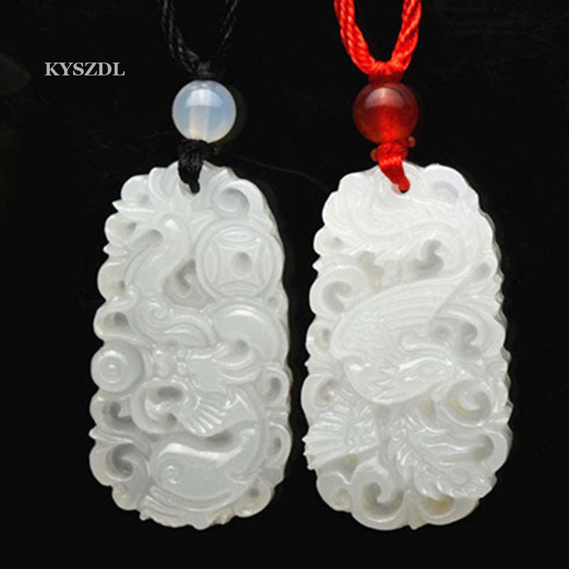 Natural White Jade Dragon and Phoenix Pendant