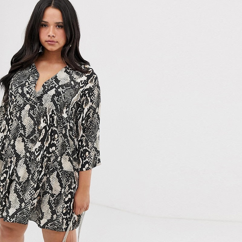 Snake Print quarter Sleeve Dress-Sunshine's Boutique & Gifts