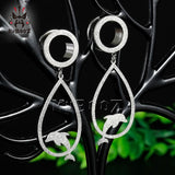 Dull Polish Cute Dolphin Stainless Steel Dangle Gauges