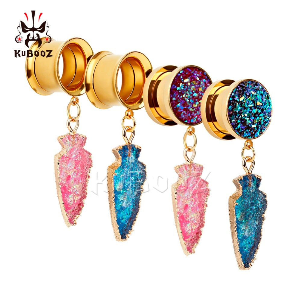 Gold dangle stainless steel ear gauges-Sunshine's Boutique & Gifts