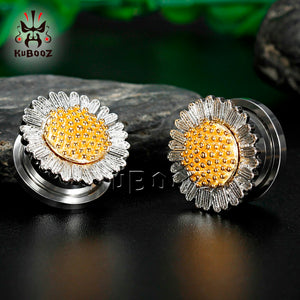 Sunflower stainless steel ear gauges-Sunshine's Boutique & Gifts