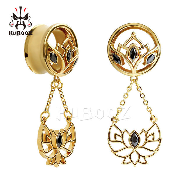 Stainless steel dangle ear plugs lotus crystal-Sunshine's Boutique & Gifts