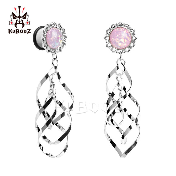 stainless steel pink opal double dangle ear plug-Sunshine's Boutique & Gifts