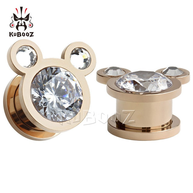 Stainless steel zircon ear plugs-Sunshine's Boutique & Gifts