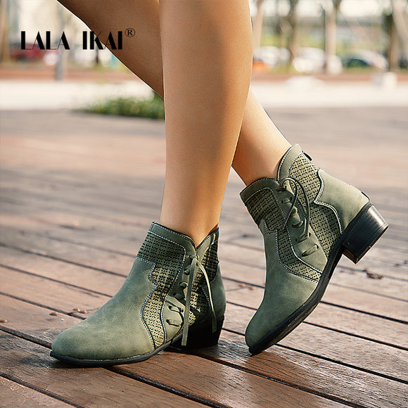 Ankle Boots Lace-up Hollow Waterproof