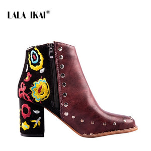 Embroider High Ankle Boots