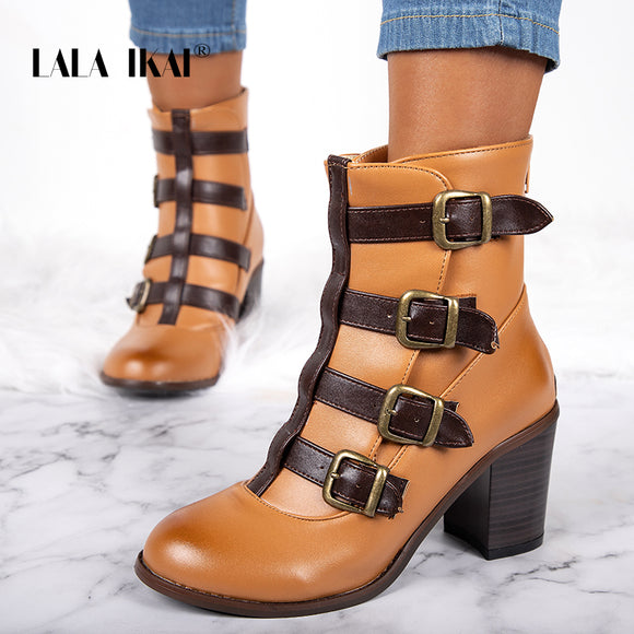 Brown PU Leather Ankle Boots