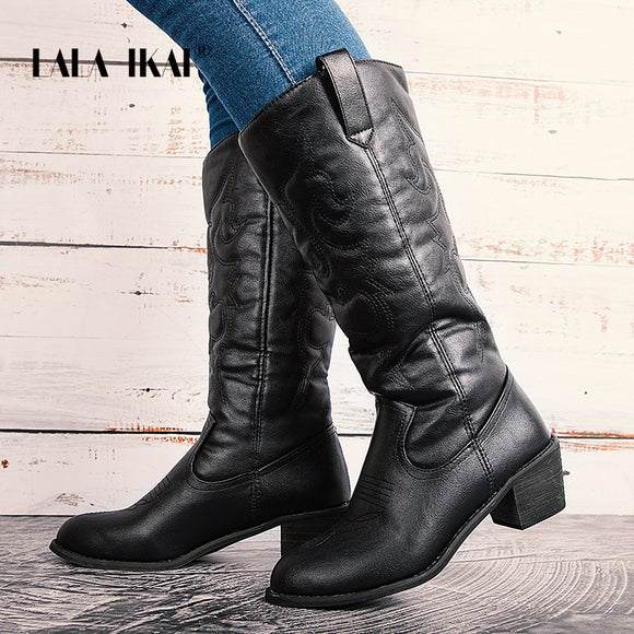 Mid-calf Pointed Toe Boots