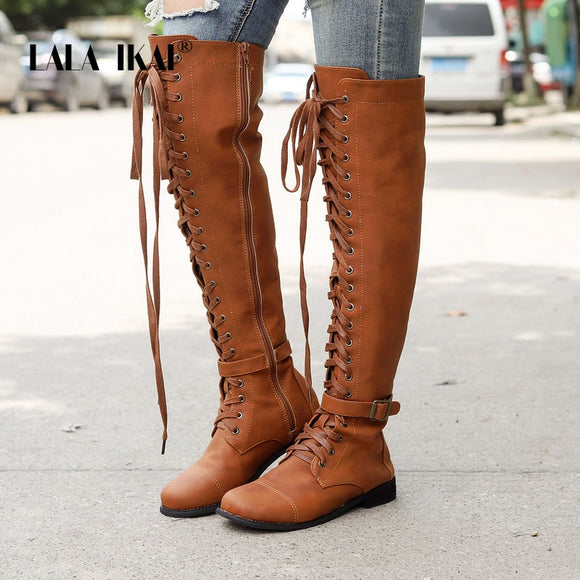 Over The knee lace-up Boots