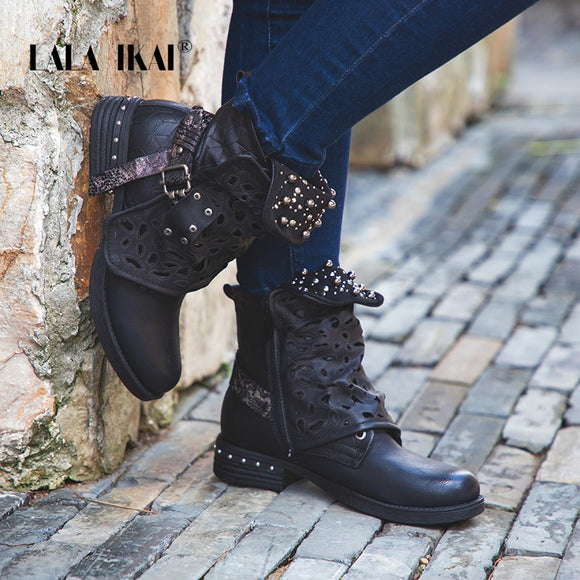 Rhinestone Rivet Buckle Lace-up Ankle Boots