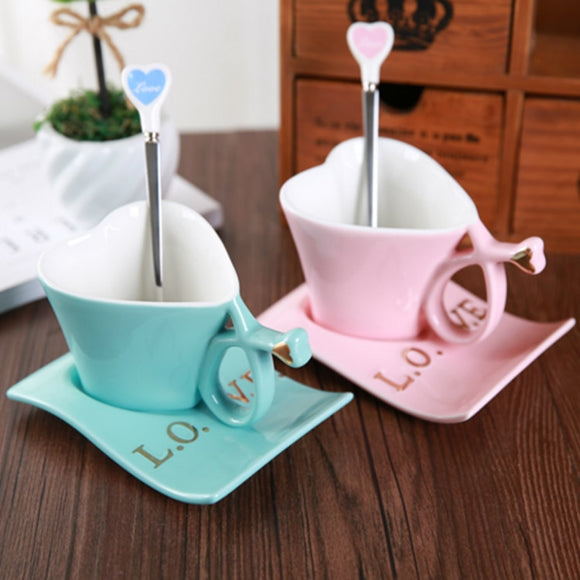 Heart Shape Coffee Cup-Spoon and Dish