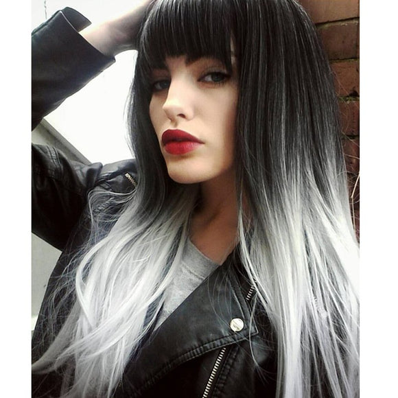 Long Straight Wig with Bangs Synthetic Grey Temperature Fiber-Sunshine's Boutique & Gifts