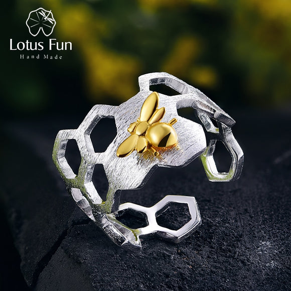 Real 925 Sterling Silver 18K Gold Bee Rings