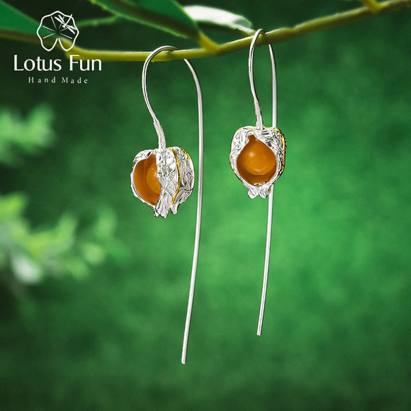 Real 925 Sterling Silver Natural Stone Earrings