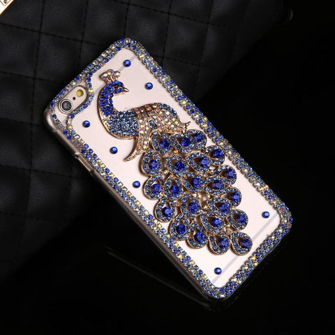 Luxury Bling Glitter Rhinestone Peacock Phone Case For iPhone X 5 5S SE 6 6S 7 8 Plus