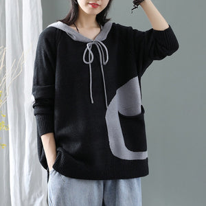 Ladies Thicken Hooded Cotton Knitted Sweater