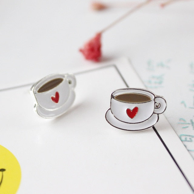 Red Heart Cute Coffee Cup Stud Earrings-Sunshine's Boutique & Gifts