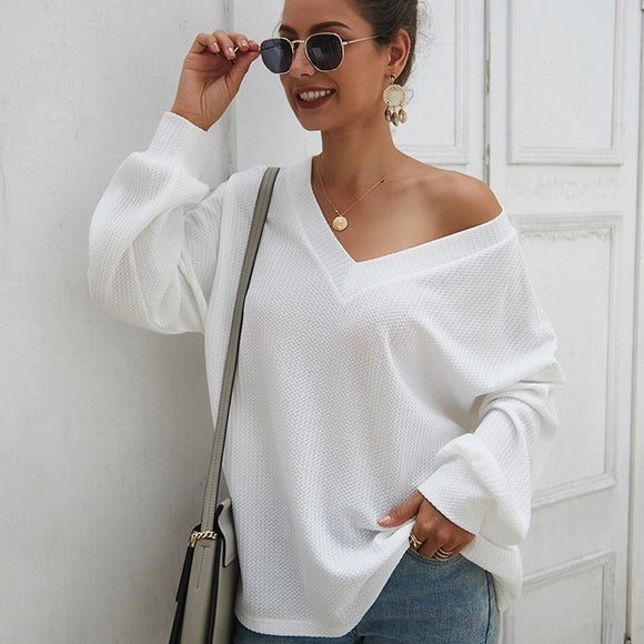 Women Sexy V Neck Long Sleeve Sweater