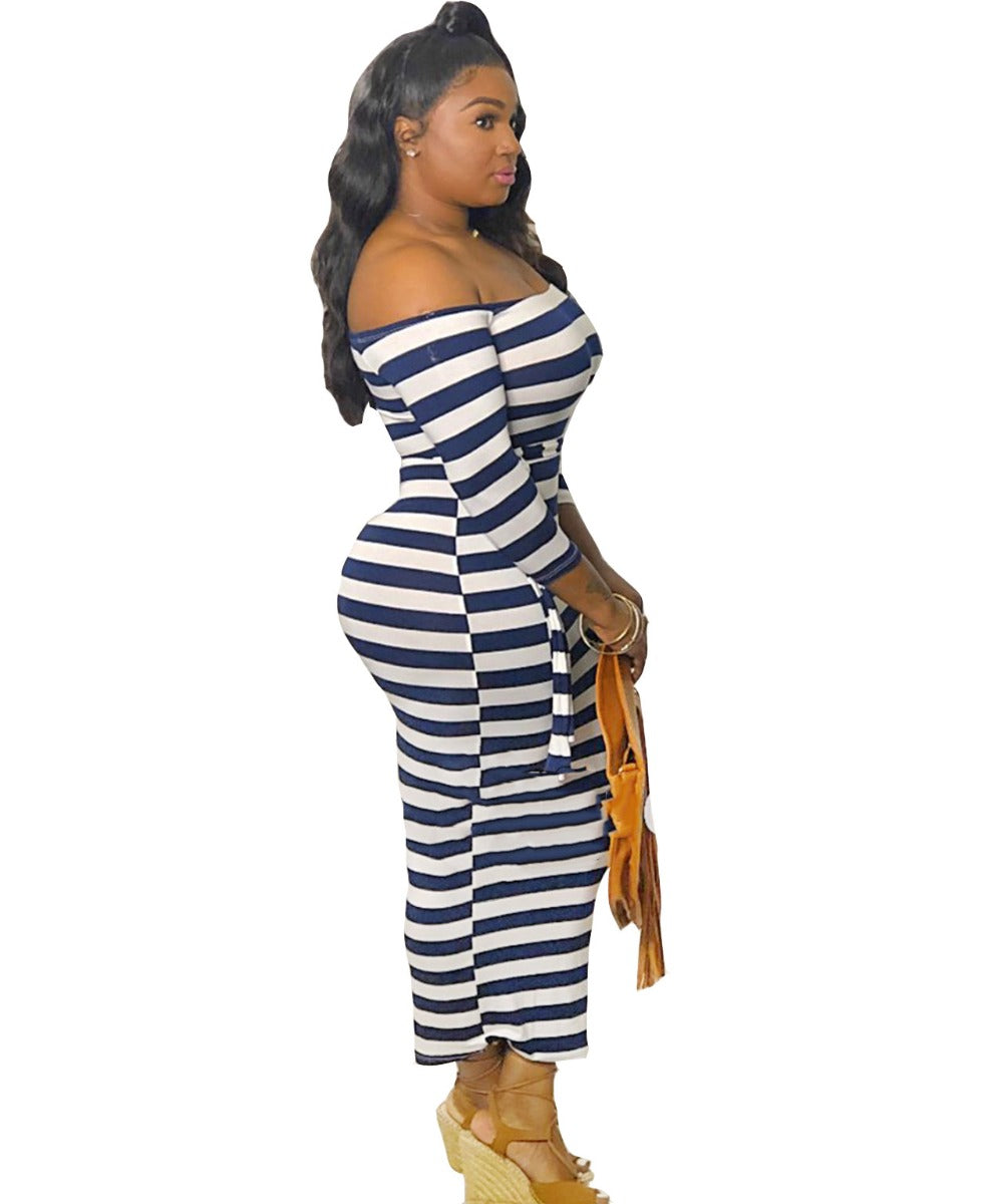 Plus Size Deep Blue Striped Bodycon Dress-Sunshine's Boutique & Gifts