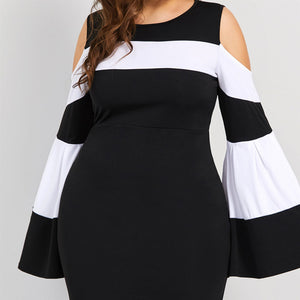 Plus Size Striped Sheath Dress-Sunshine's Boutique & Gifts