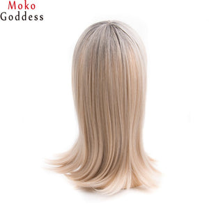 Ombre Brown Blonde Wig High Density Temperature Synthetic Wigs