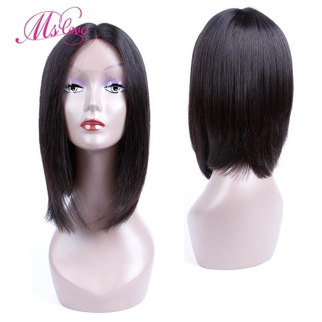 Human Hair Wigs Lace Front Short Bob Wig Brazilian 1b #2 #4 Brown Color-Sunshine's Boutique & Gifts