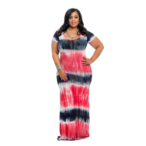 Multi Color Tie-dye Short Sleeve Maxi Dress-Sunshine's Boutique & Gifts