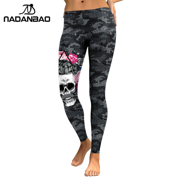 Women Skull Head 3D Printed Camouflage Legging-Sunshine's Boutique & Gifts