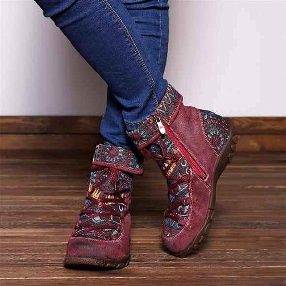 Genuine Leather Bohemian Vintage Style Boots
