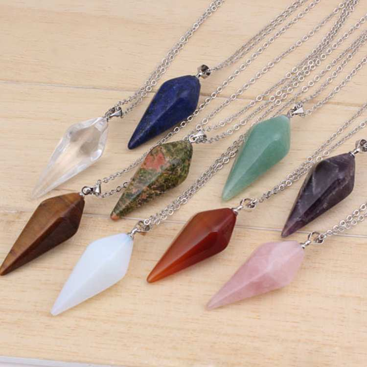Natural Gem Stone Hexagon Pyramid Reiki Pendulum Pendant-Sunshine's Boutique & Gifts