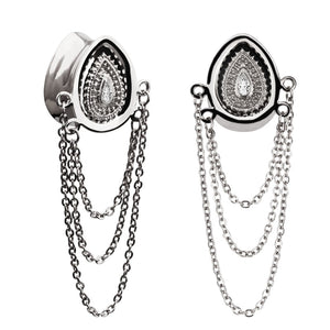 Stainless Steel Tear-Shaped Ear Gauge Plug Double Flared Zircon-Sunshine's Boutique & Gifts
